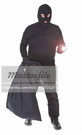 robber with flashlight and sack isolated on whitebackground Stock Photo - Budget Royalty-Free, Image code: 400-05672527
