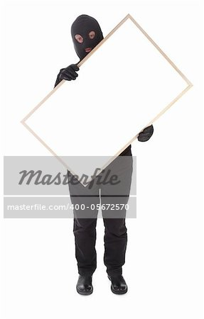 bandit with hollow frame isolated on white background Stock Photo - Budget Royalty-Free, Image code: 400-05672570