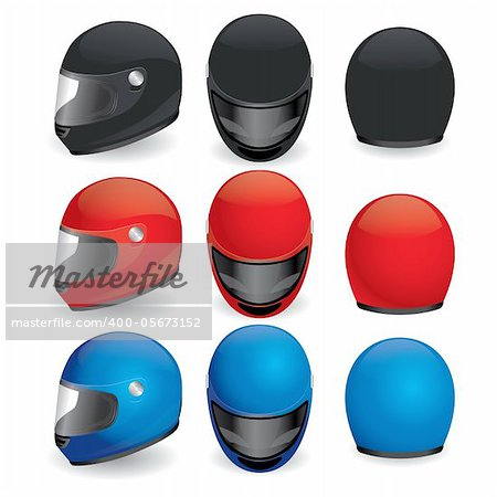 Vector illustration of motorcycle helmet. Black, red and blue set Stock Photo - Budget Royalty-Free, Image code: 400-05673152