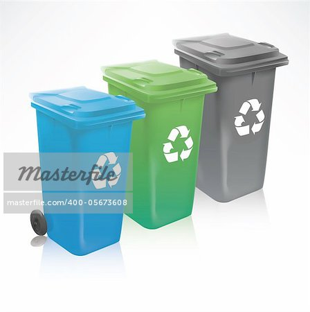 Modern recycle bins isolated on white Stock Photo - Budget Royalty-Free, Image code: 400-05673608