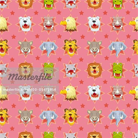 cartoon angry animal face seamless pattern Stock Photo - Budget Royalty-Free, Image code: 400-05673854