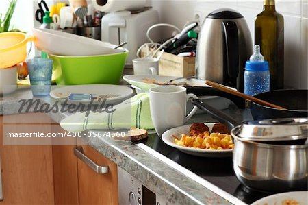 Pile of dirty dishes in the kitchen - Compulsive Hoarding Syndrom Stock Photo - Budget Royalty-Free, Image code: 400-05674560