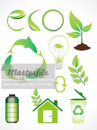abstract multiple eco elements set vector illustration