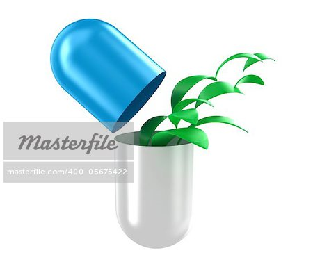 Illustration of capsule with a green leaves inside