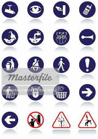 Illustration set of international communication signs. All vector objects and details are isolated and grouped. Colors, reflection and transparent background color are easy to remove or customize. Stock Photo - Budget Royalty-Free, Image code: 400-05676062