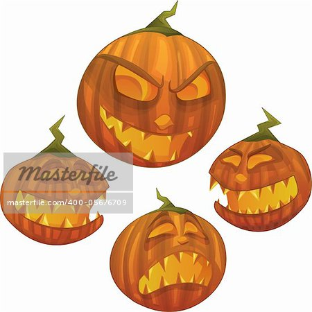 Vector Halloween pumpkin character with different face expressions: scared, evil, scary, happy