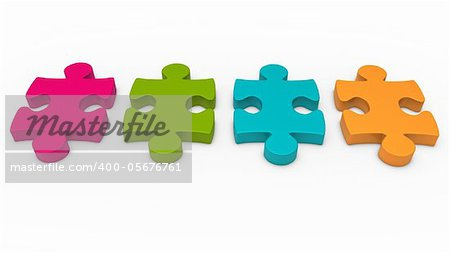 3d puzzle piece series pink green orange