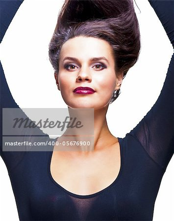 Girl with open armpits pulling her hair up Stock Photo - Royalty-Free, Artist: rusloc, Code: 400-05676900