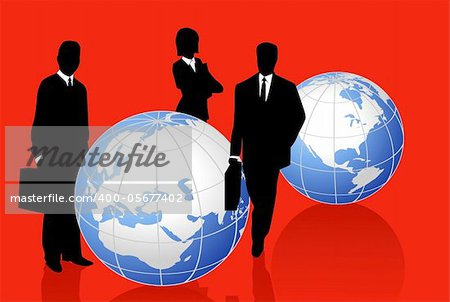 Background illustration with silhouettes and world globes