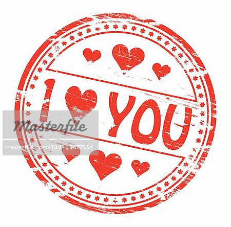 "Rubber stamp illustration showing ""I LOVE YOU"" text. Also available as a Vector in Adobe illustrator EPS format, compressed in a zip file"