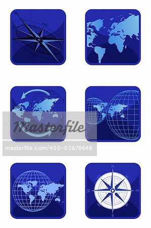 Vector compass and world icons isolated on white background