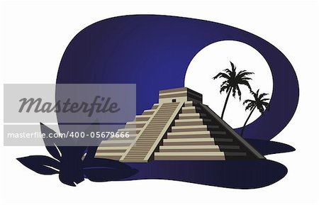 Illustration with Mayan Pyramid isolated on white background Stock Photo - Budget Royalty-Free, Image code: 400-05679666