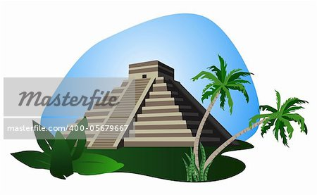 Illustration with Mayan Pyramid isolated on white background Stock Photo - Budget Royalty-Free, Image code: 400-05679667