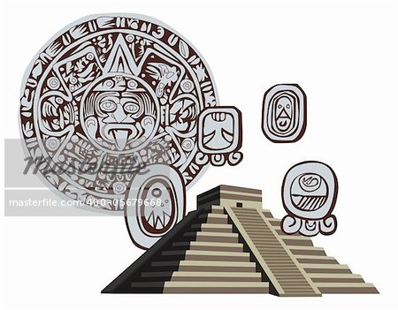 Illustration with Mayan Pyramid and ancient glyphs Stock Photo - Budget Royalty-Free, Image code: 400-05679668