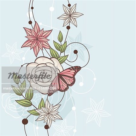 abstract cute floral vector illustration with butterfly