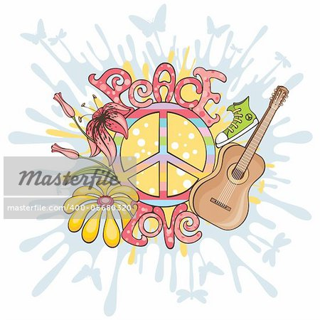 abstract peace and love vector illustration background Stock Photo - Royalty-Free, Artist: SelenaMay, Code: 400-05680320