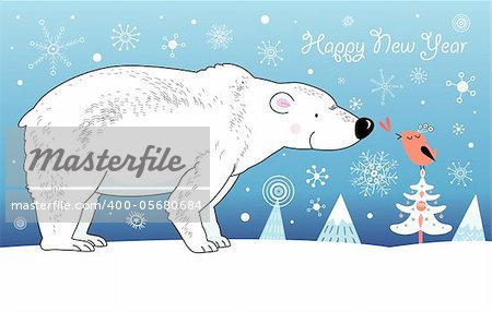 Christmas card with a white bear and bird graphic on a blue background with snowflakes