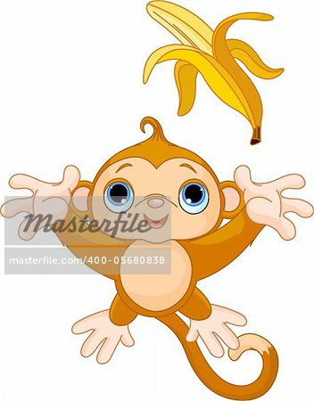 Illustration of funny Monkey trying to catch banana Stock Photo - Budget Royalty-Free, Image code: 400-05680838