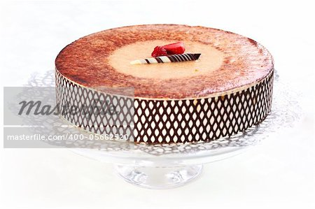 Delicious Tiramisu birthday cake with cherries Stock Photo - Budget Royalty-Free, Image code: 400-05682520