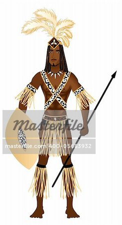 Vector Illustration of a man dressed in Zulu Carnival Halloween Costume.