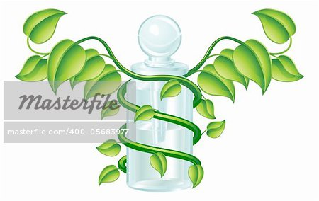 Natural caduceus bottle concept, could be homoeopathy bottle or other natural remedy. Stock Photo - Budget Royalty-Free, Image code: 400-05683977
