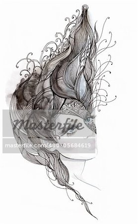 Painting of beautiful woman with ornate hair (series C).