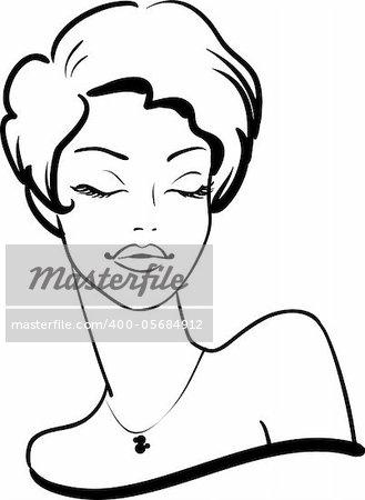 fashion female portrait with closed eyes