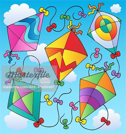 Various flying kites on blue sky - vector illustration.