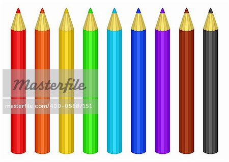 Pencils colour, a set. All colours of a rainbow plus black and brown