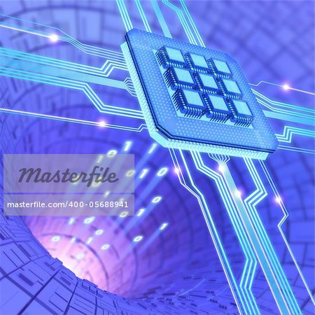 Central Processing Unit. A processor (microchip) interconnected receiving and sending information. Concept of technology and future. Stock Photo - Budget Royalty-Free, Image code: 400-05688941