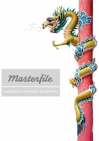 Golden Chinese Dragon Wrapped around red pole on white background
