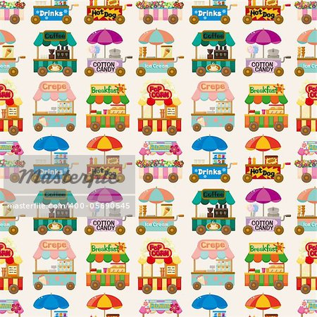 cartoon market store car seamless pattern Stock Photo - Budget Royalty-Free, Image code: 400-05690545