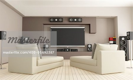 elegant living room with home theatre system - rendering Stock Photo - Budget Royalty-Free, Image code: 400-05692387