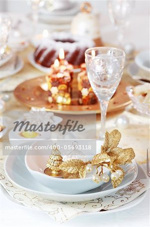 Place setting for Christmas in golden and white tone Stock Photo - Budget Royalty-Free, Image code: 400-05693118