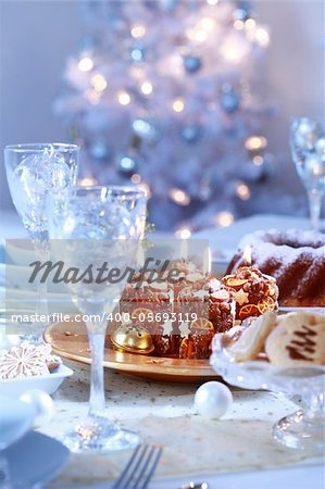Place setting for Christmas in blue and white tone Stock Photo - Budget Royalty-Free, Image code: 400-05693119