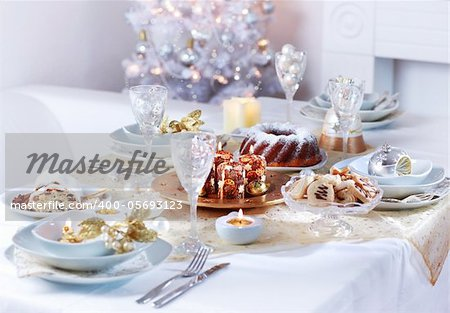 Place setting for Christmas in white tone Stock Photo - Budget Royalty-Free, Image code: 400-05693123