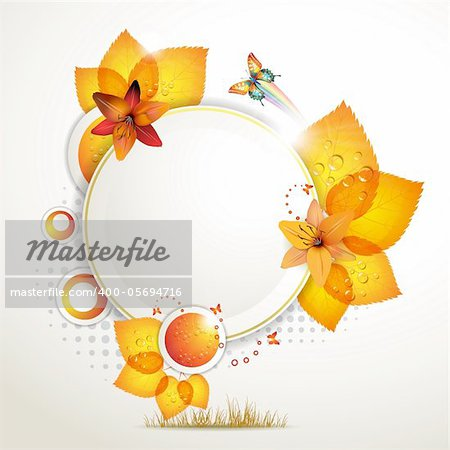 Banner design with leaf, flowers and butterflies Stock Photo - Budget Royalty-Free, Image code: 400-05694716