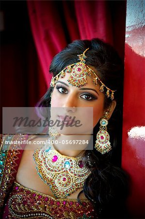 Image of a beautiful Indian bride traditionally attired Stock Photo - Budget Royalty-Free, Image code: 400-05697284