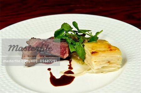 Image of a gourmet steak and potato dish Stock Photo - Budget Royalty-Free, Image code: 400-05697291