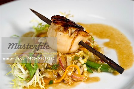 Image of a beautifully prepared gourmet scallop dish Stock Photo - Budget Royalty-Free, Image code: 400-05697293