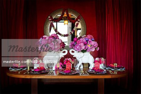 Image of a beautiful table setting for an Indian weding Stock Photo - Budget Royalty-Free, Image code: 400-05697296