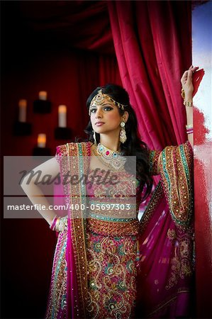 Image of a beautiful Indian bride standing Stock Photo - Budget Royalty-Free, Image code: 400-05697303