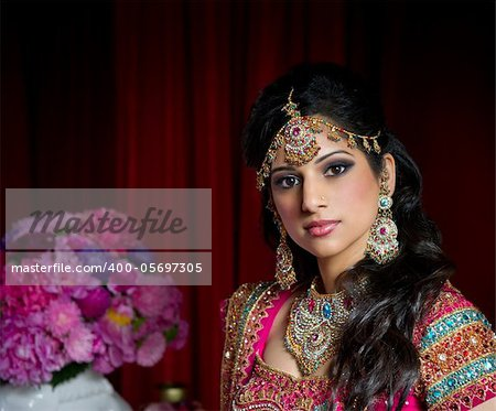 Image of a beautiful Indian bride traditionally dressed Stock Photo - Budget Royalty-Free, Image code: 400-05697305