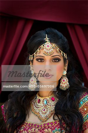 Head and shoulder portrait of a beautiful Indian bride Stock Photo - Budget Royalty-Free, Image code: 400-05697306