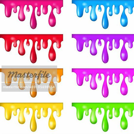 8 Color Paint Dripping, Isolated On White Background, Vector Illustration