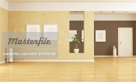empty home entrance and living room - rendering Stock Photo - Budget Royalty-Free, Image code: 400-05700728
