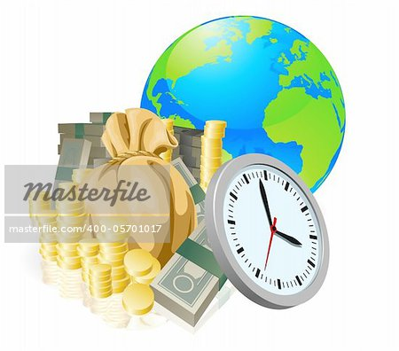 World globe money time business concept. Time is money, international business concept. Stock Photo - Budget Royalty-Free, Image code: 400-05701017