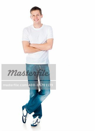 young man in a white T-shirt isolated on white