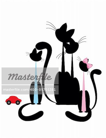 Cat family - black silhouette on white background.