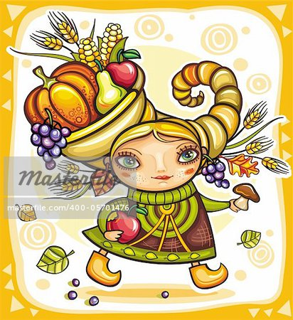 Happy cute girl wearing Cornucopia hat full of colorful fruits and vegetables, celebrating harvest festival in the forest. Stock Photo - Budget Royalty-Free, Image code: 400-05701476